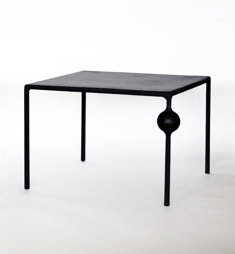 Cast Modern Geometric Hand Made End Table PAIR in carved Blackened Steel  For Sale