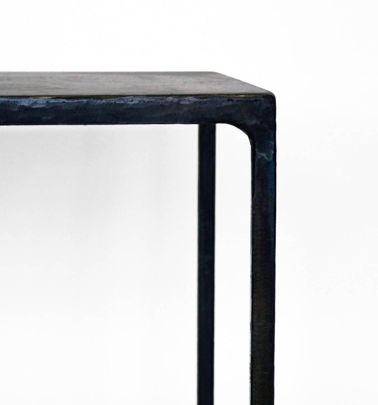 Contemporary Modern Geometric Hand Made End Table PAIR in carved Blackened Steel  For Sale