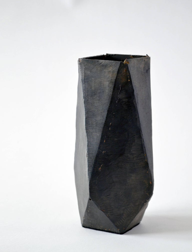 Carved Collection of Modern Geometric Vessels Handmade by J.M. Szymanski, made in NYC For Sale