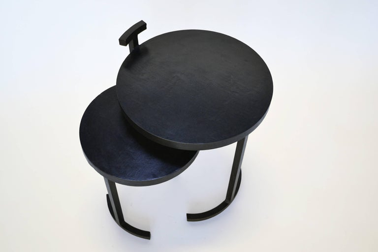 Nesting Side Table Set Modern Round Pair End Table Cast Blackened Waxed Steel In New Condition For Sale In Bronx, NY
