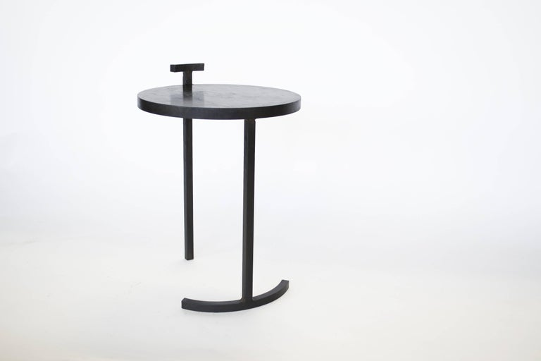 Contemporary Nesting Side Table Set Modern Round Pair End Table Cast Blackened Waxed Steel For Sale