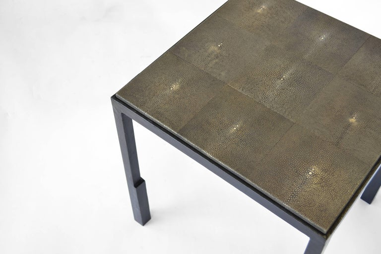 Hand-Carved Shagreen Side Table Modern Geometric Stark Thick Handmade Blackened Steel Waxed For Sale
