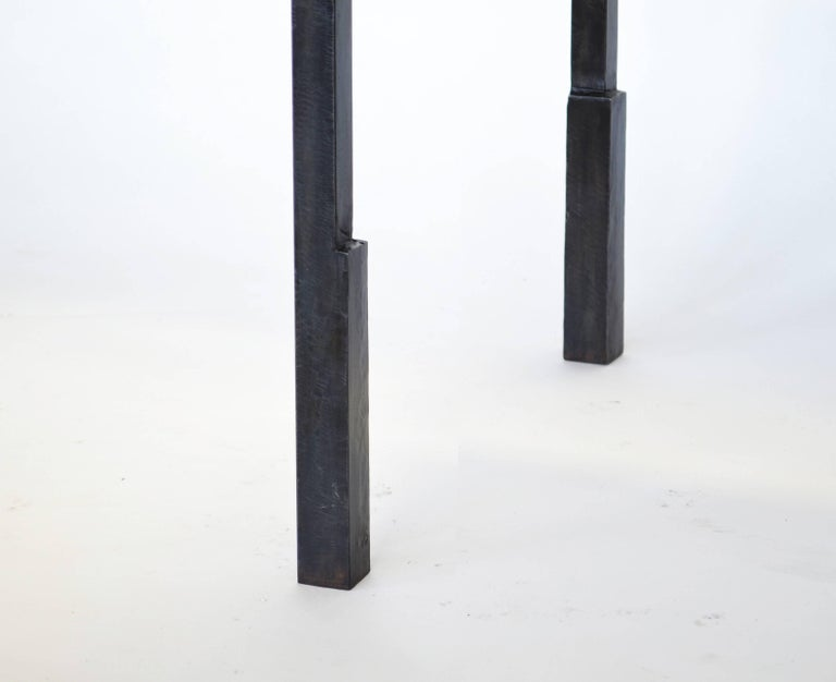 Contemporary Shagreen Side Table Modern Geometric Stark Thick Handmade Blackened Steel Waxed For Sale