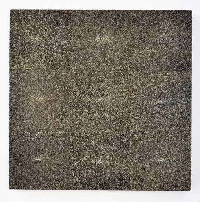 Shagreen Side Table Modern Geometric Stark Thick Handmade Blackened Steel Waxed For Sale 1