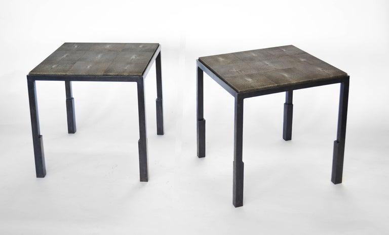 American Shagreen Side Table Modern Geometric Stark Thick Handmade Blackened Steel Waxed For Sale