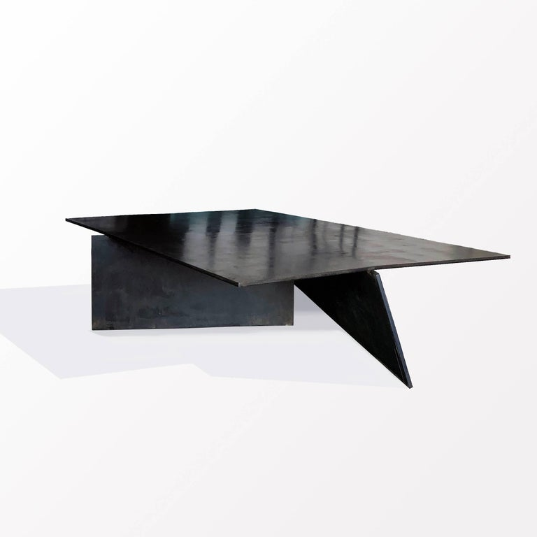 Modern Geometric Coffee Table, Handmade from Blackened Steel by J.M. Szymanski In New Condition For Sale In Bronx, NY