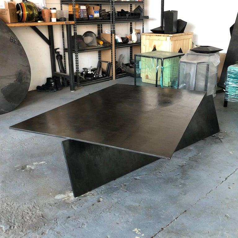 Contemporary Modern Geometric Coffee Table, Handmade from Blackened Steel by J.M. Szymanski For Sale