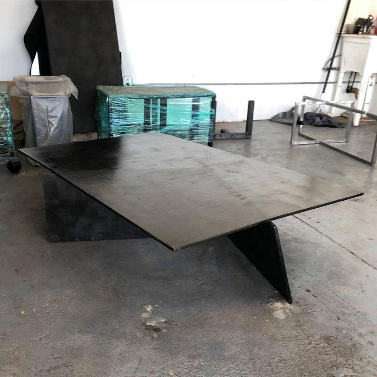 Iron Modern Geometric Coffee Table, Handmade from Blackened Steel by J.M. Szymanski For Sale