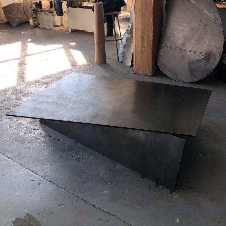 Modern Geometric Coffee Table, Handmade from Blackened Steel by J.M. Szymanski For Sale 1