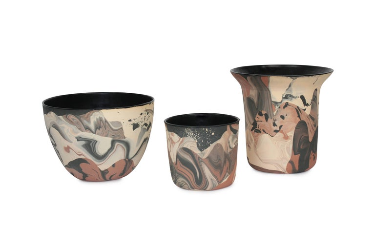 Modern Contemporary Handmade Marbled Ceramic Vase in Peach, Black and Brown For Sale