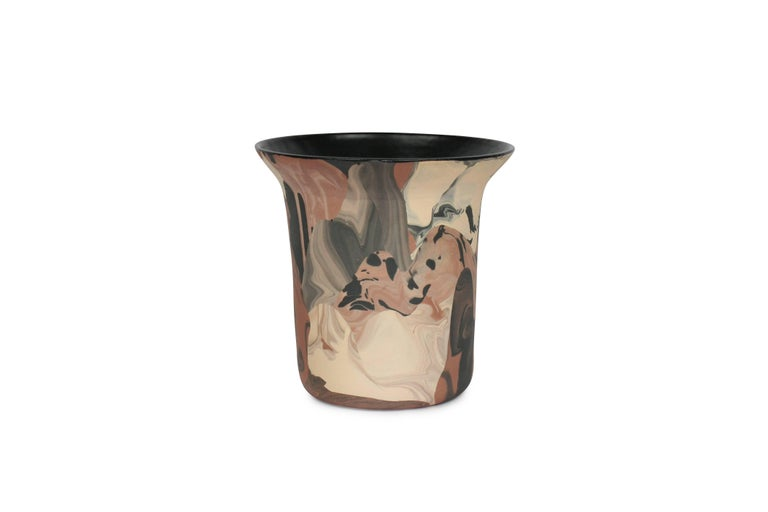 Contemporary Handmade Marbled Ceramic Vase In Peach Black And Brown
