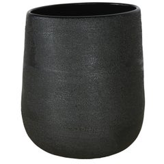 Contemporary Med. Dew Vase #5 Black Ceramic and Glaze, Handmade
