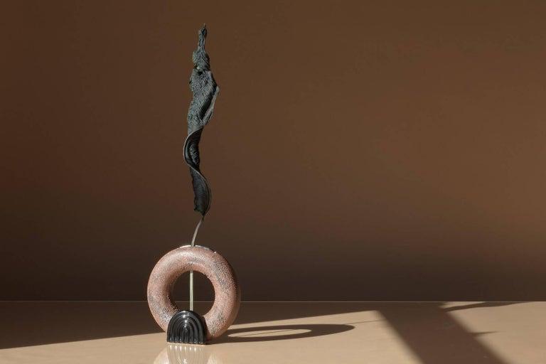 American Contemporary Circular Brown Dew Vase Vessel Ikebana Ceramic and Glaze, Handmade For Sale