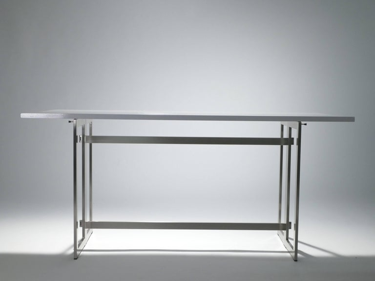 Chrome Artelano Italian White Lacquer Console Table For Sale