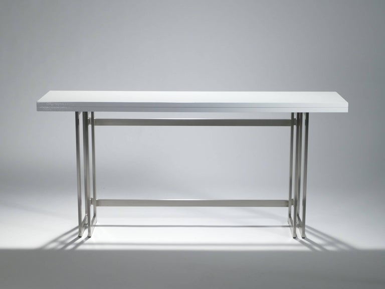 Artelano Italian White Lacquer Console Table In Excellent Condition For Sale In Paris, FR