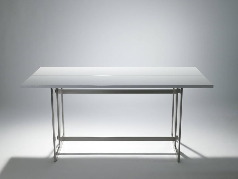 Late 20th Century Artelano Italian White Lacquer Console Table For Sale
