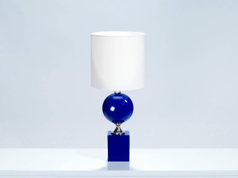 French Pair of Blue Lacquered Metal Lamps by Philippe Barbier, 1970s For Sale