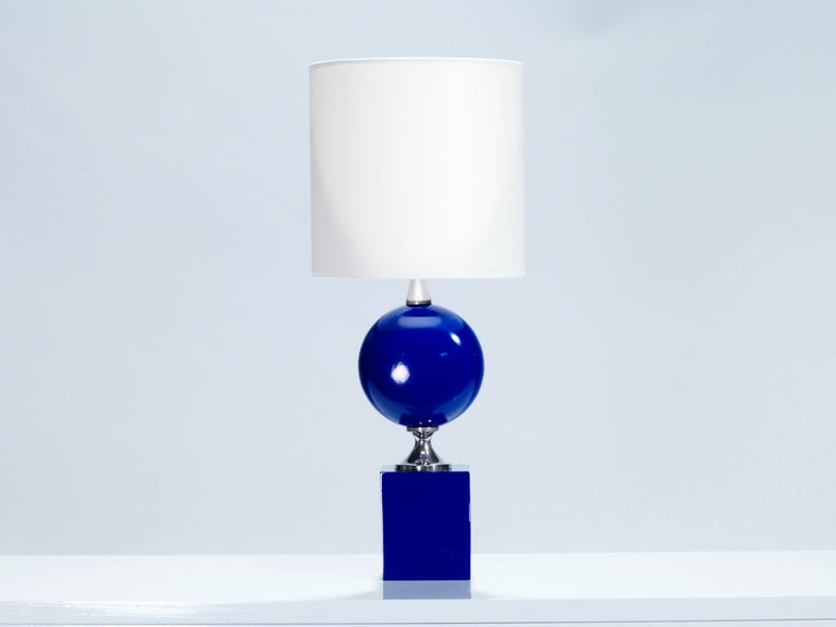 Pair of Blue Lacquered Metal Lamps by Philippe Barbier, 1970s In Excellent Condition For Sale In Paris, FR