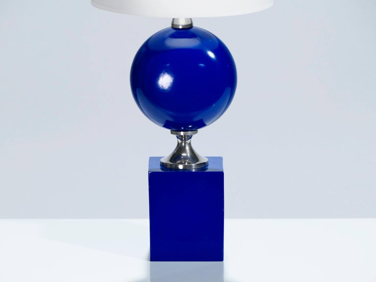 Late 20th Century Pair of Blue Lacquered Metal Lamps by Philippe Barbier, 1970s For Sale