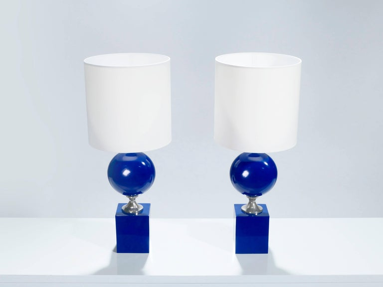 Mid-Century Modern Pair of Blue Lacquered Metal Lamps by Philippe Barbier, 1970s For Sale