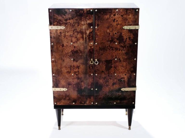 Italian Bar Cabinet in Goatskin Parchment by Aldo Tura, 1960s For Sale