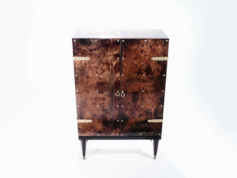 Mid-Century Modern Bar Cabinet in Goatskin Parchment by Aldo Tura, 1960s For Sale
