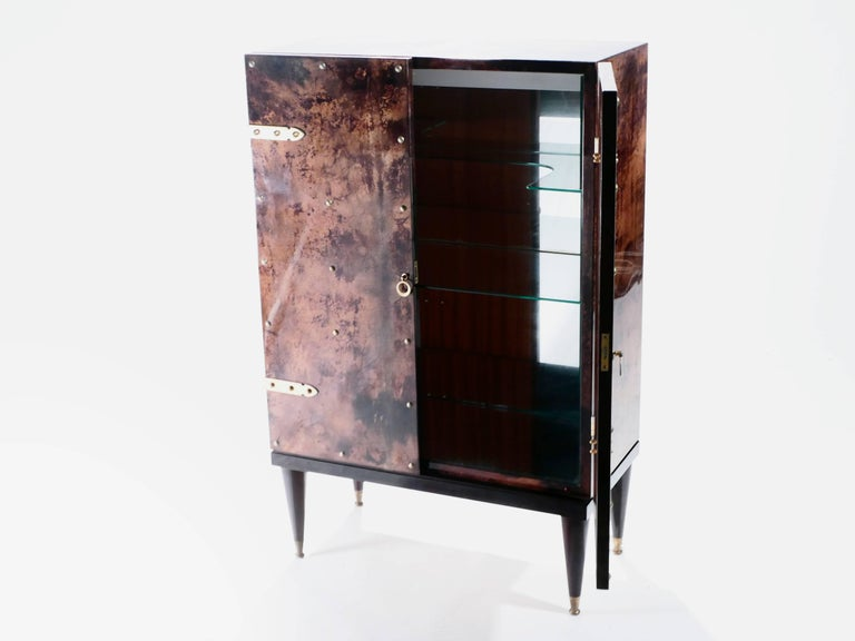 Brass Bar Cabinet in Goatskin Parchment by Aldo Tura, 1960s For Sale