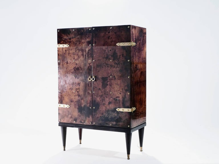 Mid-20th Century Bar Cabinet in Goatskin Parchment by Aldo Tura, 1960s For Sale
