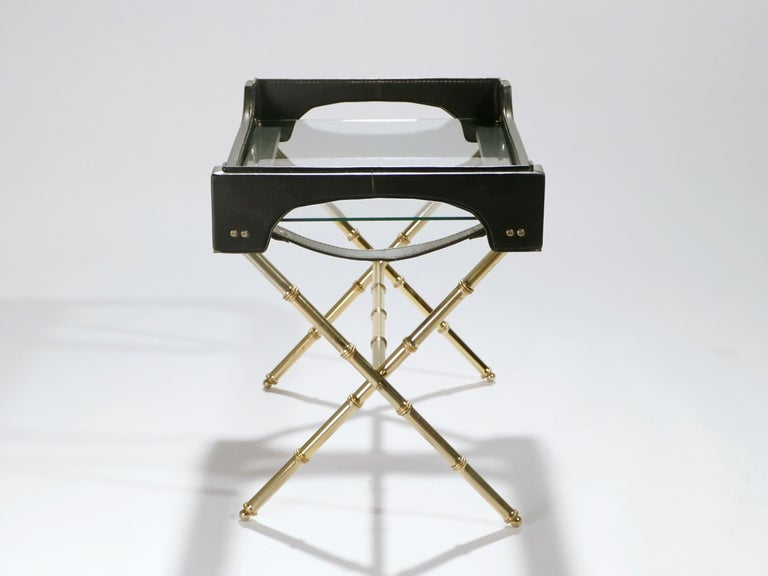 French Jacques Adnet Leather and Brass Side Table with Tray, 1950s For Sale