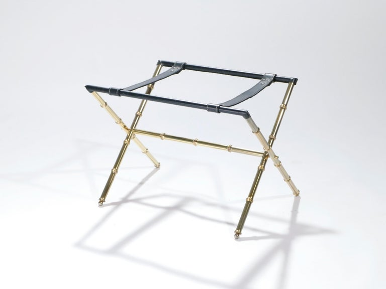 Jacques Adnet Leather and Brass Side Table with Tray, 1950s For Sale 3