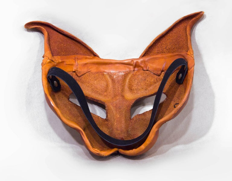 Hand-Crafted Tan Leather Cat Mask For Sale