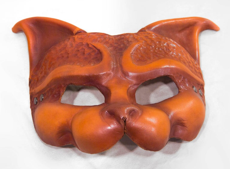 American Tan Leather Cat Mask For Sale