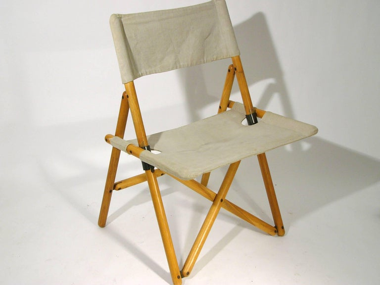 Wood And Flax Quot Navy Quot Folding Chairs By Sergio Asti For