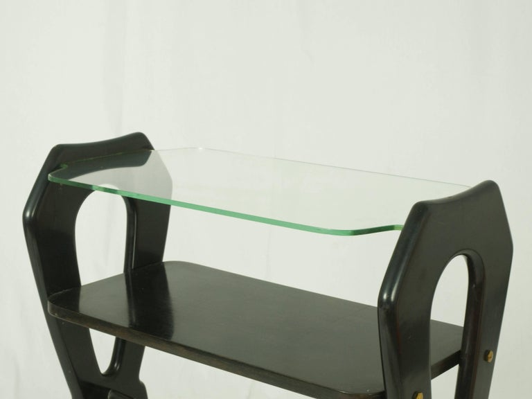 Laquered Wood and Glass Italian Late 1940s Small Serving Table For Sale 1