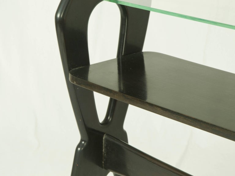 Mid-20th Century Laquered Wood and Glass Italian Late 1940s Small Serving Table For Sale