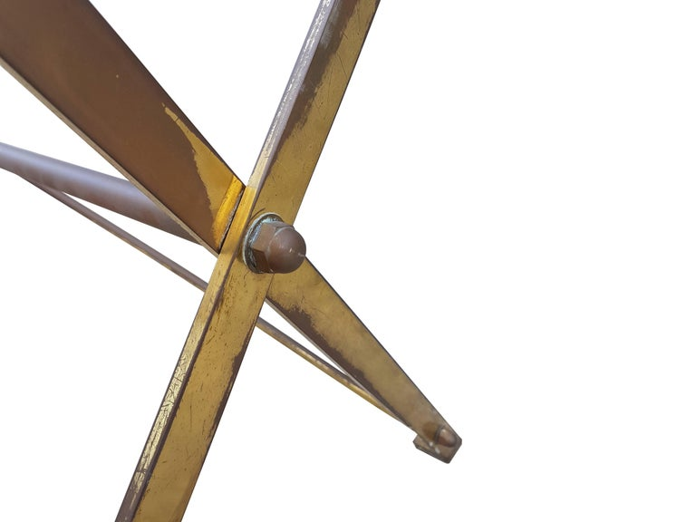 Vintage Wood & Brass T3 Cavalletto Table by Caccia Dominioni for Azucena, 1950s In Good Condition For Sale In Varese, Lombardia