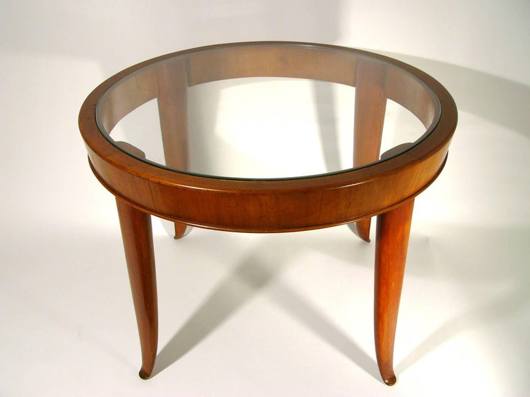 Mid-Century Modern Italian Wood and Glass Round Coffee Table, 1940s For Sale