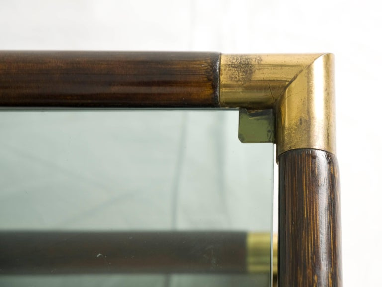 Bamboo and Brass Italian 1970s Coffee Table For Sale 2