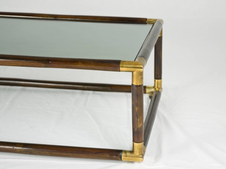 Lacquered Bamboo and Brass Italian 1970s Coffee Table For Sale