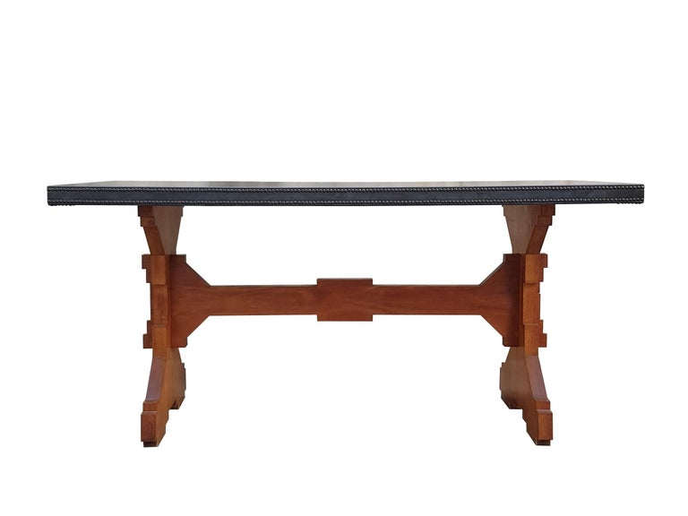 """Mid-Century Modern Wood and Skai Italian """"Fratino"""" Dining Table from 1950s For Sale"""