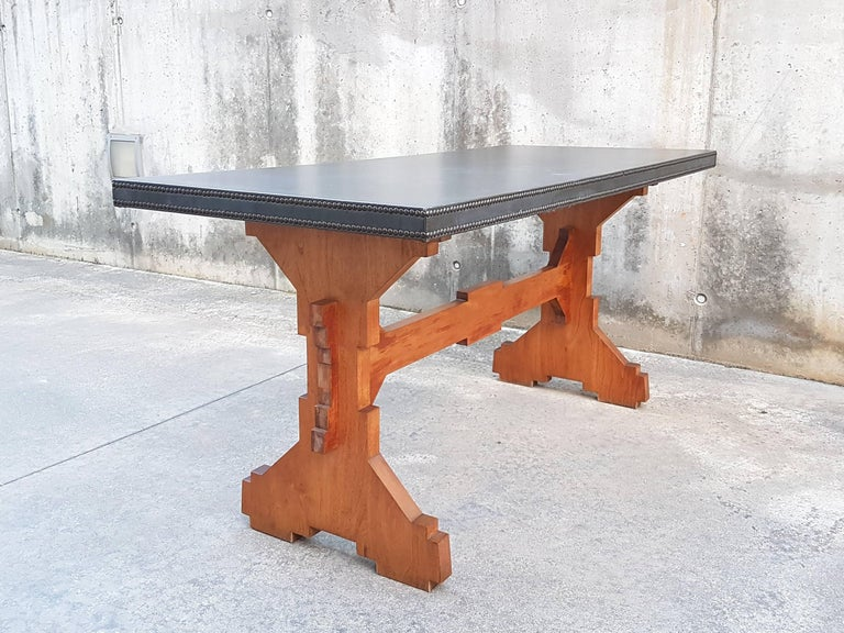 """Wood and Skai Italian """"Fratino"""" Dining Table from 1950s For Sale 1"""