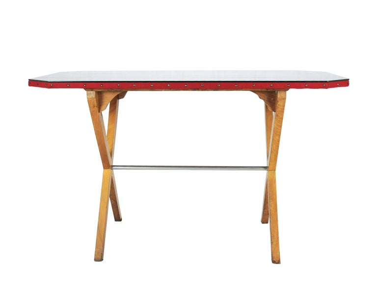 Mid-Century Modern Wood, Fabric and Glass Italian 1940s Rationalist Desk For Sale