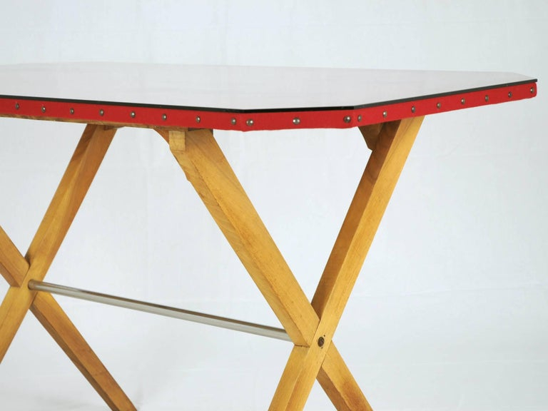 Mid-20th Century Wood, Fabric and Glass Italian 1940s Rationalist Desk For Sale