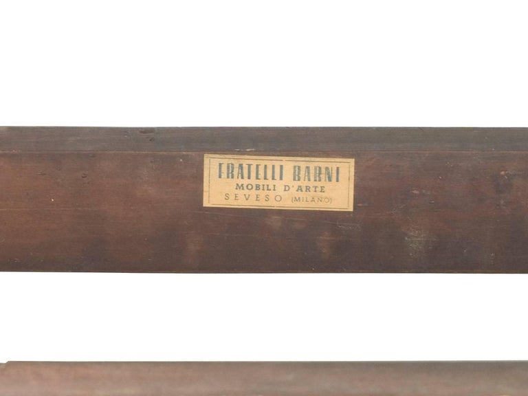 Mid-20th Century Wood and Marble Italian 1950s Wall-Mounted Console Table from Fratelli Barni For Sale