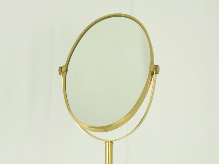 Italian Brass Freestanding Floor Mirror, 1960s For Sale at 1stdibs