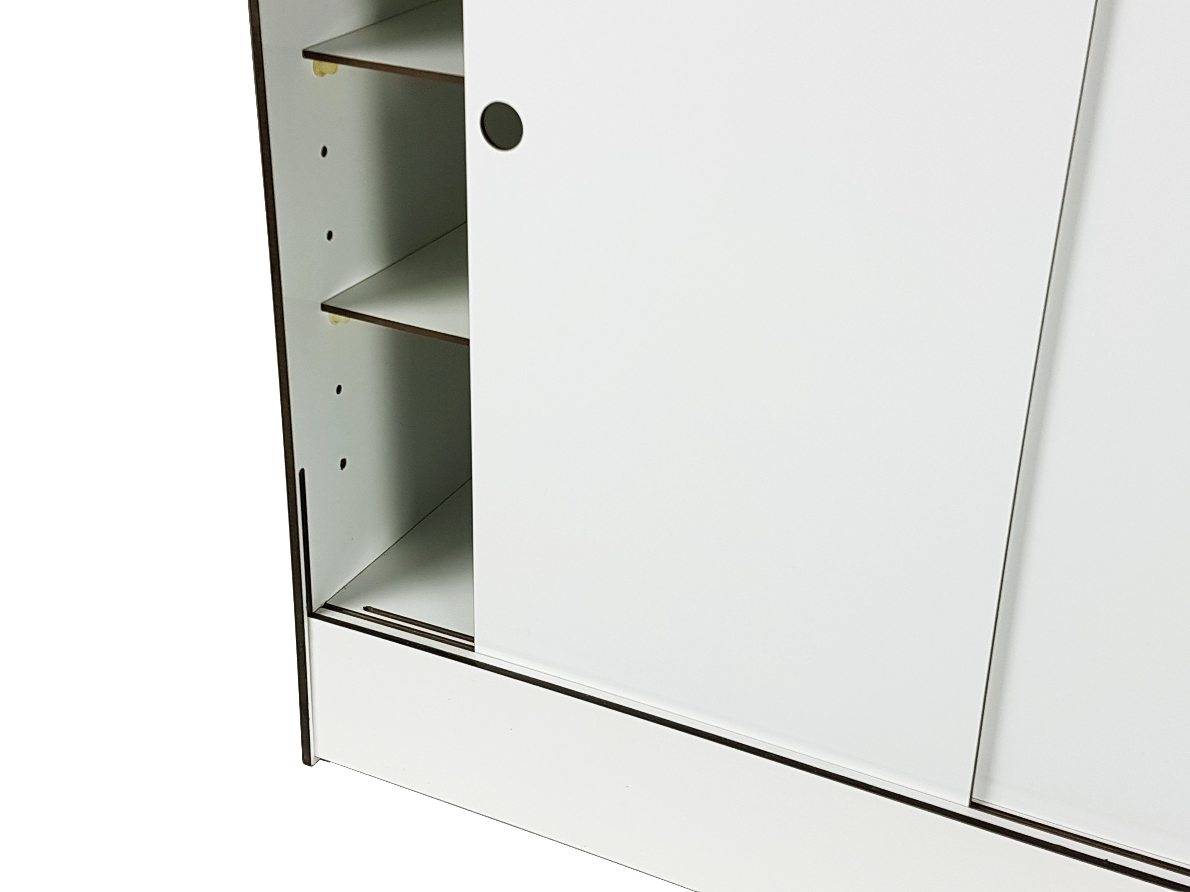 Italian White Laminated Plastic Storage Unit With Shelves And Sliding Doors For La At 1stdibs