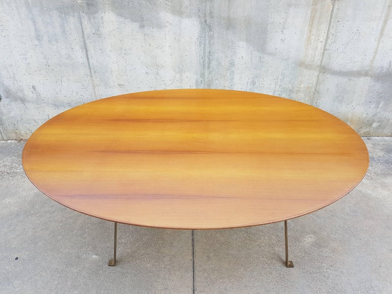 Mid-Century Modern Vintage Wood & Brass T3 Cavalletto Table by Caccia Dominioni for Azucena, 1950s For Sale