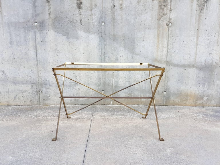 Gilt Vintage Wood & Brass T3 Cavalletto Table by Caccia Dominioni for Azucena, 1950s For Sale