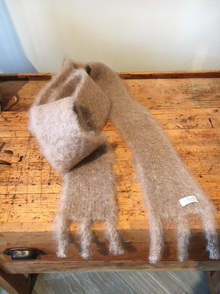 Finnish Lena Rewell Mohair Scarf in Warm Beige For Sale