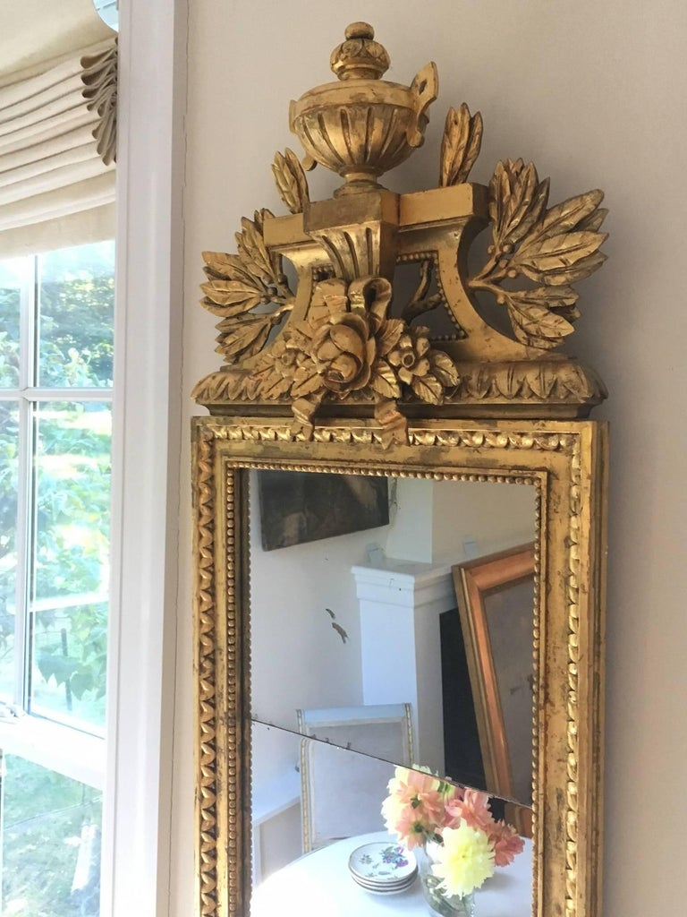 19th Century Swedish Gustavian Style Carved Giltwood Mirror For Sale